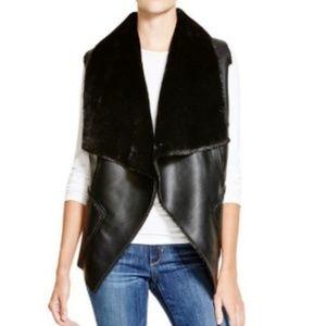 BlankNYC Black Faux Fur Leather Open Vest Size XS